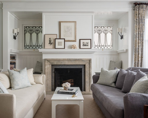 Transitional Formal Living Room Idea In San Francisco With A Standard Fireplace And No Tv