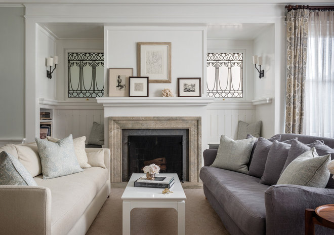 Transitional Living Room by Upscale Construction