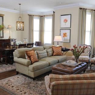 Elegant open concept dark wood floor living room photo in San Francisco