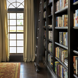 Example of a classic living room library design in San Francisco