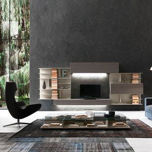 Großes, Abgetrenntes Modernes Wohnzimmer ohne Kamin mit schwarzer Wandfarbe, freistehendem TV und weißem Boden in Boston