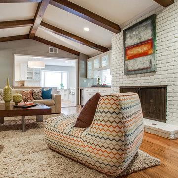 Preston Hollow Bungalow Living Room Fireplace