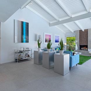 ロサンゼルスの中くらいのミッドセンチュリースタイルのおしゃれなLDK (グレーの壁、磁器タイルの床、標準型暖炉、テレビなし) の写真