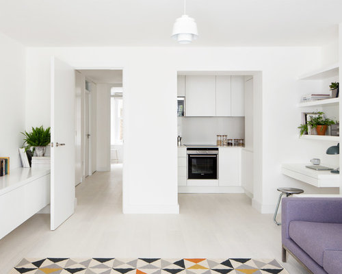This Is An Example Of A Small Scandi Open Plan Living Room In London With  White Part 82