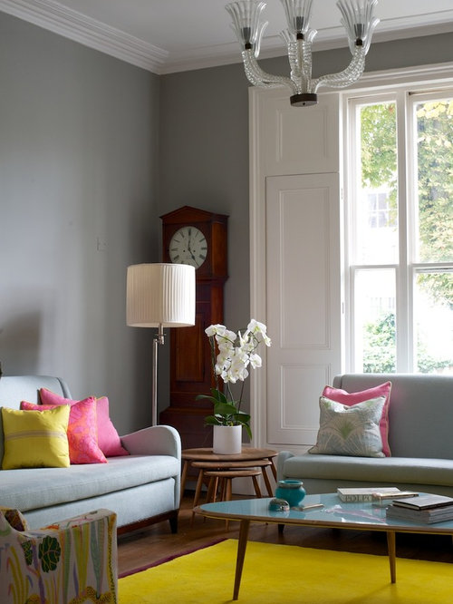 this is an example of a classic living room in london with grey walls. Interior Design Ideas. Home Design Ideas