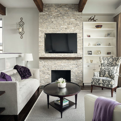 Living room - mid-sized contemporary living room idea in Boston with a standard fireplace, a stone fireplace and a wall-mounted tv