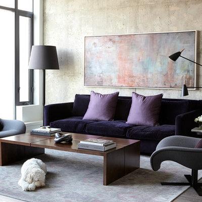 Trendy dark wood floor living room photo in Toronto with gray walls