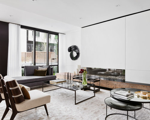 Good Contemporary Formal Living Room Idea In New York With White Walls And A  Ribbon Fireplace Part 28
