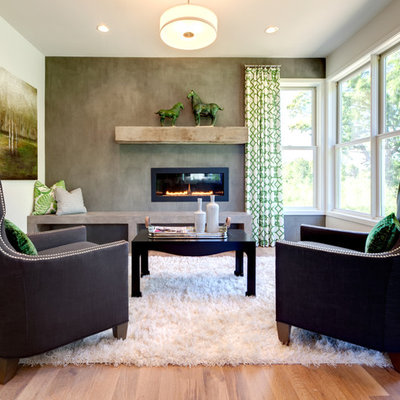 Example of a trendy open concept medium tone wood floor living room design in Minneapolis with gray walls, a ribbon fireplace and no tv