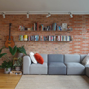 Design ideas for an industrial living room in London.