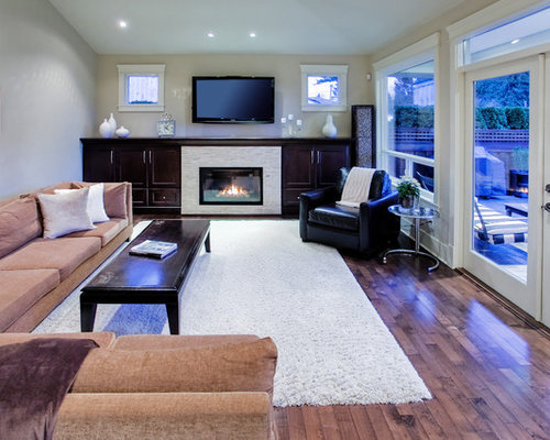 Cabinet Around Fireplace Contemporary Enclosed Living Room Idea In Vancouver With A Wall Mounted Tv