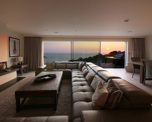 Beach style living room design ideas remodels photos with beige walls houzz - Beach style living room ...