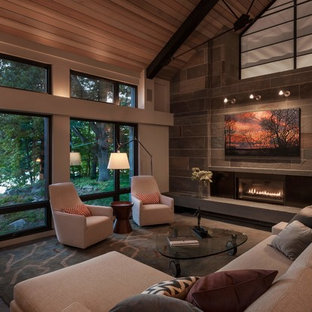 Example of a mid-sized trendy formal and open concept living room design in Minneapolis with a ribbon fireplace, a stone fireplace and no tv