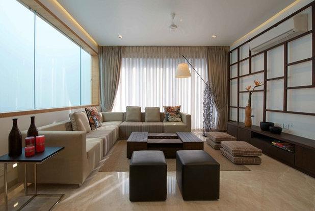 Modern Living Room Private Residence-Architect Alkesh Gangwal