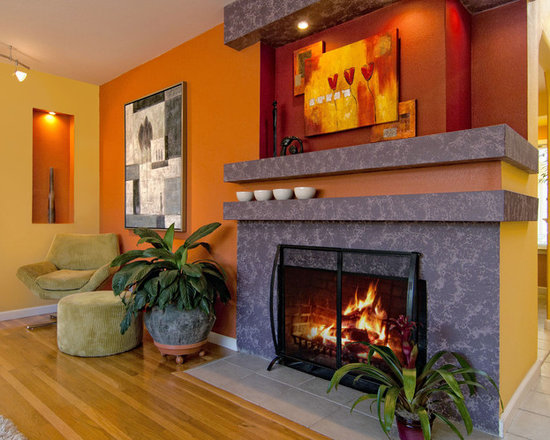 Living Room Yellow Color Scheme red and yellow color scheme | houzz