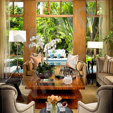 Tropical Living Room by Marc-Michaels Interior Design
