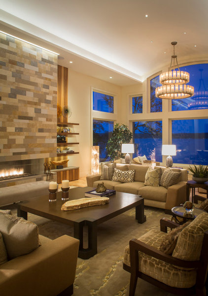Transitional living room by leighton design group