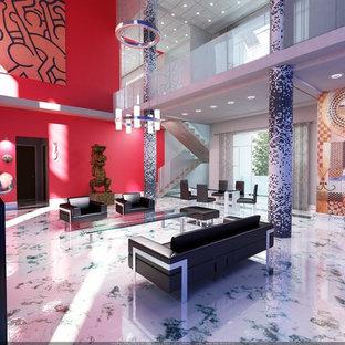 Ispirazione per un soggiorno minimal di medie dimensioni e stile loft con sala formale e pavimento in marmo