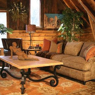 Idee per un soggiorno stile rurale di medie dimensioni e stile loft con sala formale, pareti marroni e moquette