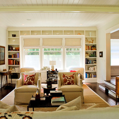 Elegant formal and enclosed dark wood floor living room photo in Boston with white walls