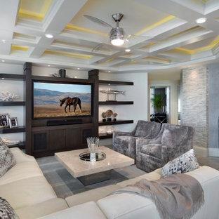 Immagine di un soggiorno minimalista di medie dimensioni e aperto con pavimento in marmo, parete attrezzata e soffitto a cassettoni