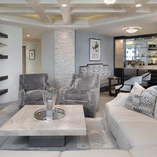 Idee per un soggiorno minimalista di medie dimensioni e aperto con pavimento in marmo, parete attrezzata e soffitto a cassettoni