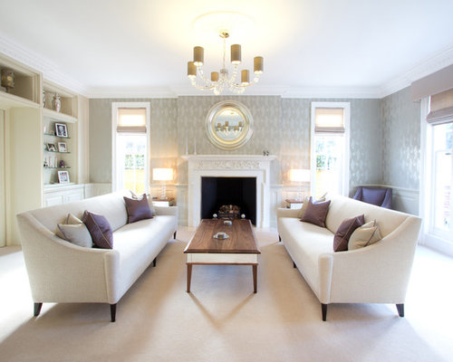 Elegant Formal Living Room Photo In London With Gray Walls A Standard Fireplace And No