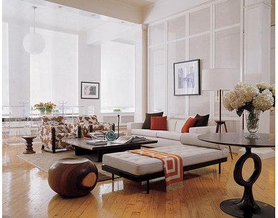 Eclectic Living Room by valerie pasquiou interiors + design, inc