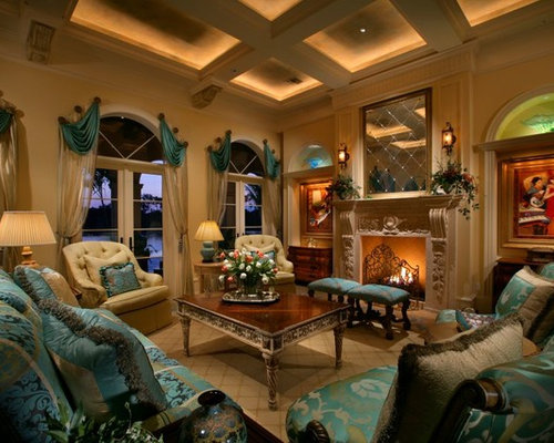 Inspiration For A Mediterranean Living Room Remodel In Miami With Yellow Walls Standard Fireplace