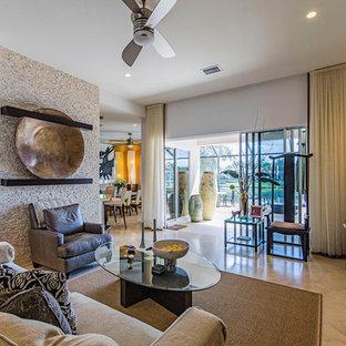 Ejemplo de salón para visitas cerrado, de estilo zen, de tamaño medio, sin chimenea, con paredes blancas, televisor independiente, suelo beige y suelo de baldosas de porcelana