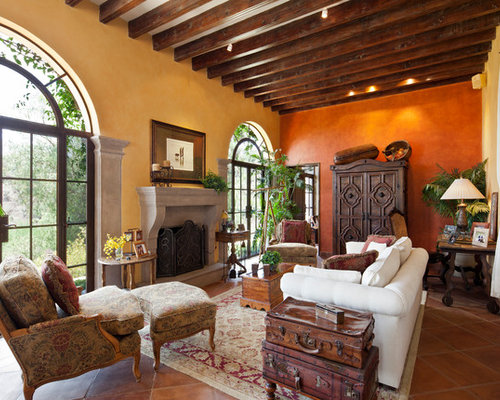Mediterranean Terra Cotta Floor Living Room Idea In Seattle With A Standard  Fireplace Part 23