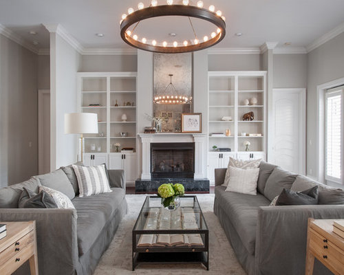 Transitional Dark Wood Floor And Brown Floor Living Room Idea In Tampa With  Gray Walls And