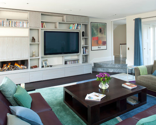Wall mounted tv shelves houzz for Accent meuble la tuque