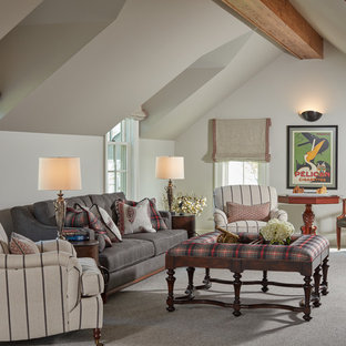 Example of a classic enclosed carpeted and gray floor living room design in Baltimore with beige walls