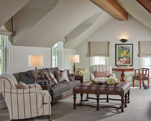 Example Of A Classic Enclosed Carpeted And Gray Floor Living Room Design In  Baltimore With Beige