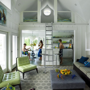 This is an example of a beach style living room in Boston.