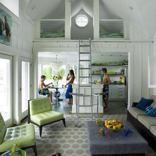 Foto di un soggiorno stile marino