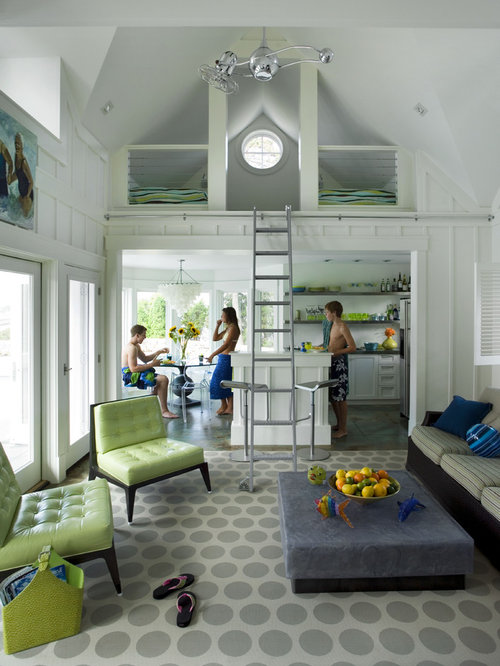 Inspiration For A Beach Style Living Room Remodel In Boston