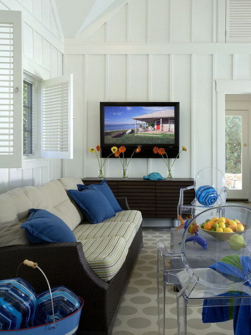Coastal Living Room Photo In Boston With White Walls