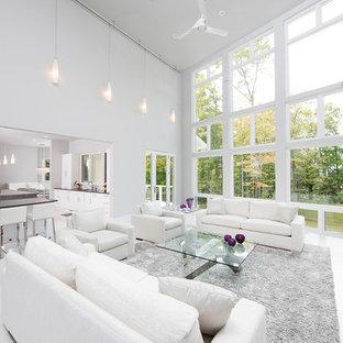 Ispirazione per un ampio soggiorno contemporaneo aperto con sala formale, pareti bianche, camino lineare Ribbon, cornice del camino in metallo e nessuna TV