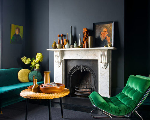 Example Of A Trendy Formal Living Room Design In London With Black Walls  And A Standard