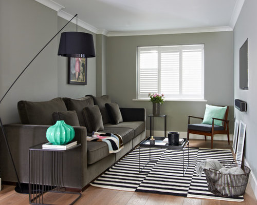 Photo Of A Traditional Living Room In London With Grey Walls And Light  Hardwood Flooring. Part 93