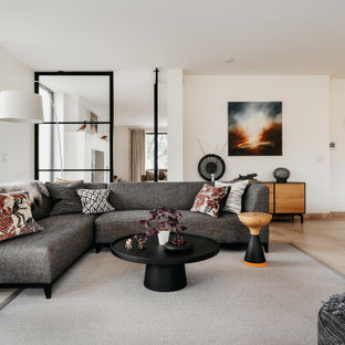 Design ideas for a large contemporary living room in Devon.