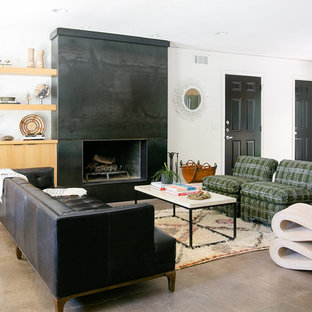 Trendy open concept concrete floor and gray floor living room library photo in Austin with white & 75 Most Popular Contemporary Living Room Design Ideas for 2018 ...