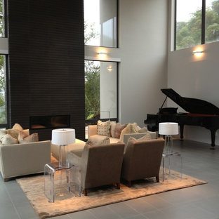 Inspiration for a large modern open concept ceramic floor and gray floor living room remodel in San Francisco with a music area, gray walls and a ribbon fireplace