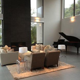 Großes, Offenes Modernes Musikzimmer mit grauer Wandfarbe, Keramikboden, Gaskamin und grauem Boden in San Francisco