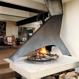 Идея дизайна: гостиная комната в стиле модернизм с белыми стенами и двусторонним камином