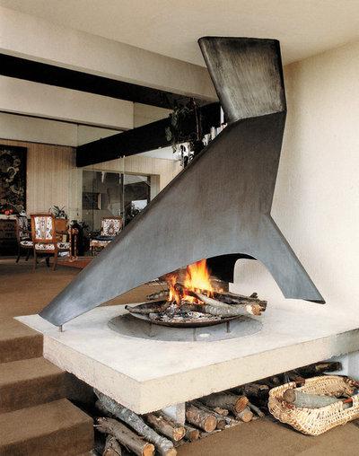 Modern Living Room by CF + D custom fireplace design