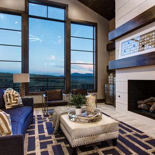 Modelo de salón para visitas contemporáneo, sin televisor, con chimenea tradicional
