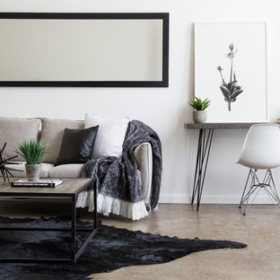 Design ideas for a scandinavian living room in Sydney with white walls, concrete floors and beige floor.